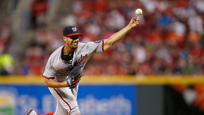 Washington Nationals starting pitcher Gio Gonzalez (47) delivers a pitch in the bottom of the sixth inning during the game between the Cincinnati Reds and the Washington Nationals at Great American Ball Park on July 14, 2017.