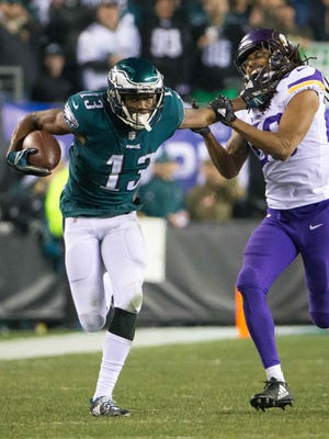Eagles wide receiver Nelson Agholor had the best season of his career in 2017, with 62 catches for 768 yards and 8 TDs.