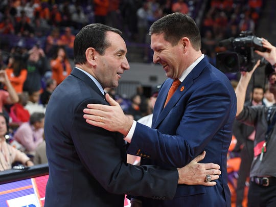 Duke head coach Mike Krzyzewski, left, and Clemson