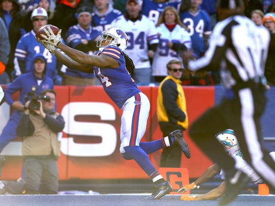 Bills receiver Sammy Watkins catches this 44-yard touchdown pass in a 33-17 win over Miami in Week 9. Watkins had eight receptions for 168 yards in the win.