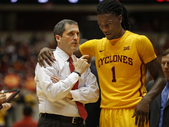 Zach Boyden-Holmes/The Register Iowa State coach Steve Prohm talks with Jameel McKay during a game against Chicago State at Hilton Coliseum in November. Iowa State Coach Steve Prohm talks with Jameel McKay during a game against Chicago State at Hilton Coliseum Monday, Nov. 16, 2015.