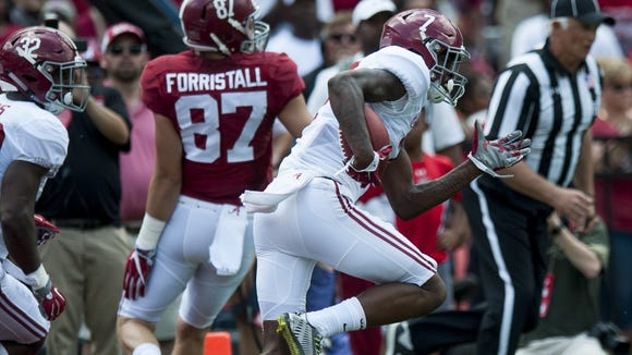 Alabama's Trevon Diggs (7) returns an interception out of the end zone during the A-Day scrimmage game at Bryant Denny Stadium in Tuscaloosa, Ala., on Saturday April 22, 2017. (Mickey Welsh / Montgomery Advertiser)