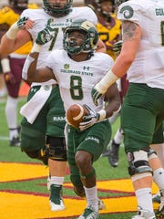 CSU's Detrich Clark celebrates after scoring a touchdown Saturday in the Rams' 31-24 loss at Minnesota.