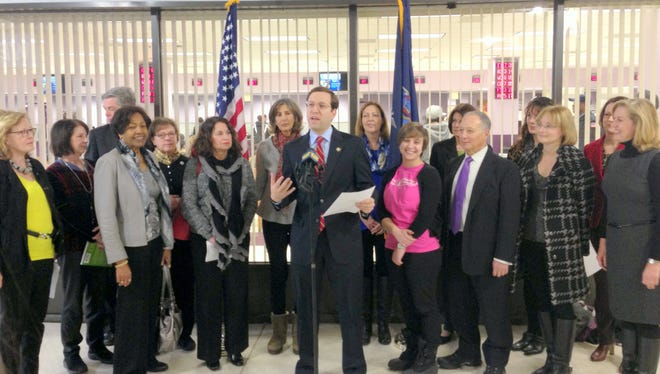 State Assemblyman David Buchwald, D-White Plains, at a press conference at the Department of Motor Vehicles on Wednesday.