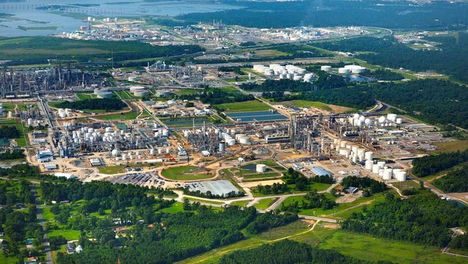 The aerial shot shows the Sasol plant in Westlake.