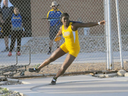 Angelo State sophomore Daisy Osakue prepares to throw