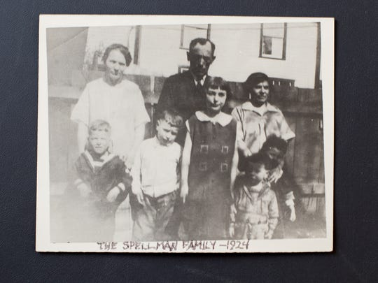 The Spellman family pictured at their home in Malvern in 1924. Mother, Sara, and father, David, are pictured with their five children and Sara's sister. Frank Spellman's father died in 1929, which broke apart the family. Frank Spellman, bottom right, was sent to the Downtown Jewish Orphan Home at 9th and Shunk streets in Philadelphia. Photo courtesy of Frank Spellman.