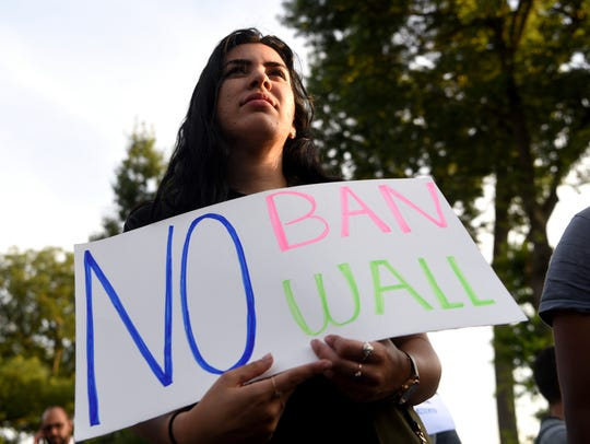 Abire Sabbagh of Paterson attends  a rally outside