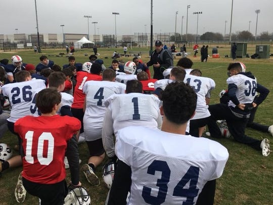 P.J. Gibbs addressed the Team USA U17 Stars after practice in Dallas, Texas, on Tuesday, Jan. 9, 2019. Gibbs served as head coach for the Team USA U17 stars last year, but will guide Team Japan in this year's International Bowl contest, held Jan. 15 at AT&T Stadium, home of the Dallas Cowboys.