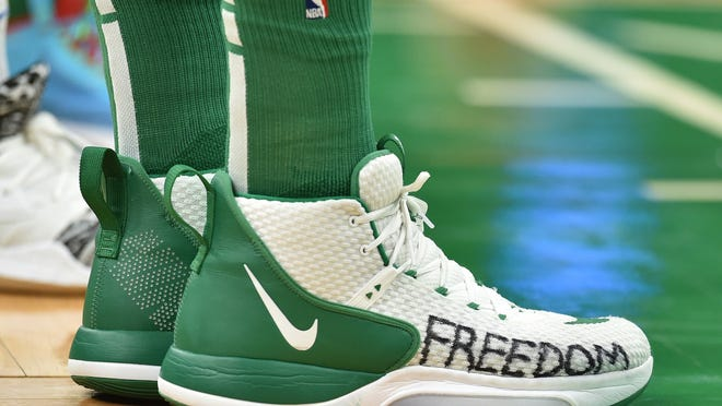Boston Celtics center Enes Kanter (11) shoes during the first half against Oklahoma City Thunder at TD Garden on March 8, 2020.
