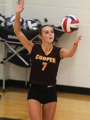 Cooper sophomore Kaitlyn Luebbers August 16, 2018 as Notre Dame beat Cooper 3-1 in volleyball.