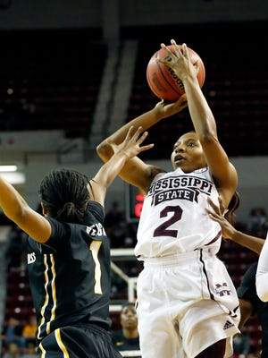 Morgan William (2) helped lead Mississippi State to a win over Southern Miss on Wednesday.