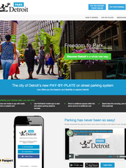 The home page of ParkDetroit.us, Detroit's new parking system.