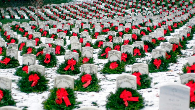 Arlington National Cemetery, shown with wreaths placed there at a past Wreaths Across America event. The national organization plans to place a wreath at all 230,000 gravesites there on Dec. 13.
