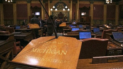 The Michigan House of Representatives chamber.
