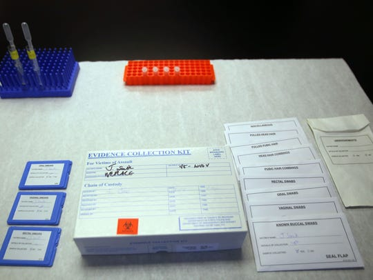 Example of a sexual assault kit in a lab at the MSP