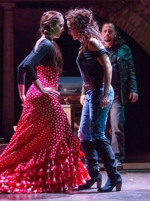"""Amelia Moore (left), Michelle Dawson and Louis Tucci in Arizona Theatre Company's """"Man of La Mancha."""""""