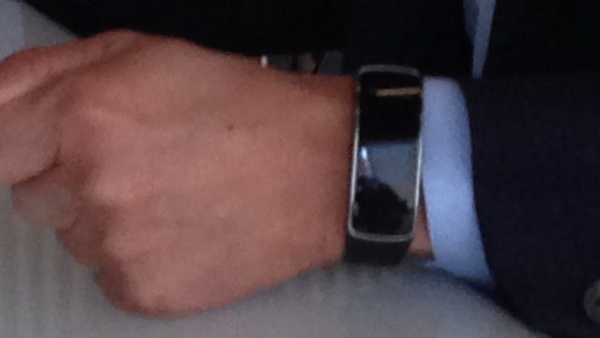 A Samsung prototype digital health device called a Simband, worn by the company's president and chief strategy officer Young Sohn.