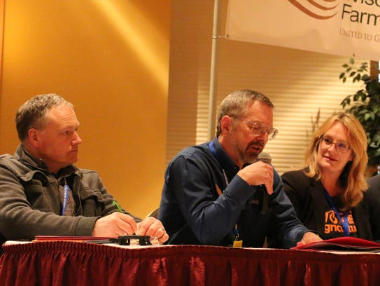 Over 100 attendees took part in a Groundswell Conference that kicked off the Farmers Union Convention Feb. 2. Sharing their knowledge and experiences from serving on county boards are (from left) Hans Breitenmoser, Lincoln County; Mark Liebaert, Douglas County; and Kriss Marion, Lafayette County. Not pictured, Tom Quinn, Dunn County.