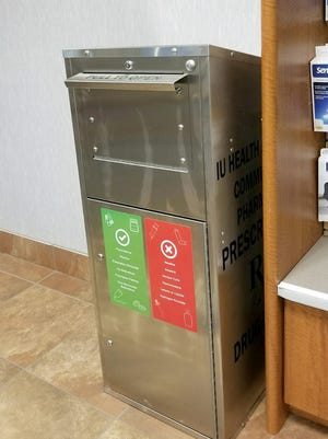 The IU Health Pavilion Community Pharmacy, located inside the main entrance of IU Health Ball Memorial Hospital, recently installed a medication return receptacle for unwanted or expired prescription medications.