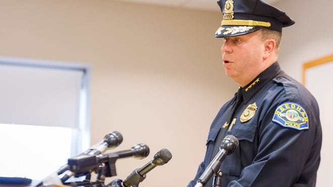 Needham Chief of Police John Schlittler speaks at a press conference at the Needham Police Department Building, Feb. 11, 2018.