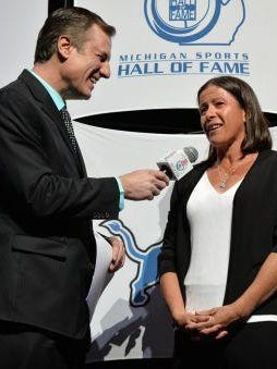 Sheila Taormina was interviewed by Dan Miller during last week's Michigan Sports Hall of Fame induction ceremony.