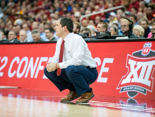 Iowa State head coach Steve Prohm looks on in the second