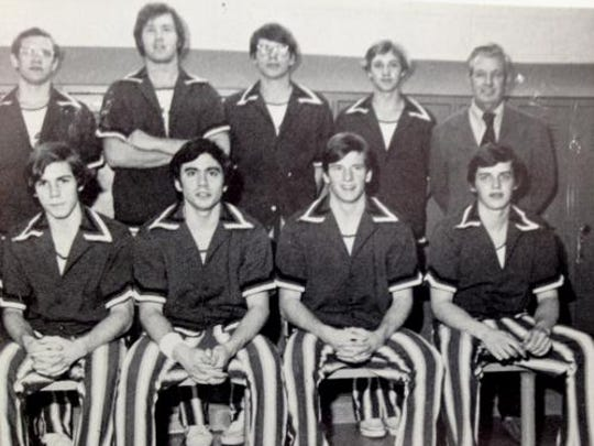 Roger Goodell, front row, second from right, in the varsity basketball team photo, from the Bronxville High School 1977 yearbook. Goodell was team captain.