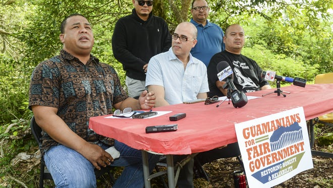 In this November 2015 file photo, Andri Baynum, left, with Guamanians for Fair Government, speaks during a press conference in Yigo. The group, which opposes the pay raises elected officials gave themselves, will support a new effort to place the question of elected officlal pay raises on the General Election ballot, Baynum said Friday.