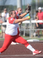 Hermleigh pitcher Morgan Kariainen throws a pitch against Rotan in the first inning. Hermleigh won the one-game Region I-1A semifinal playoff 17-8 Saturday ACU's Wells Field.