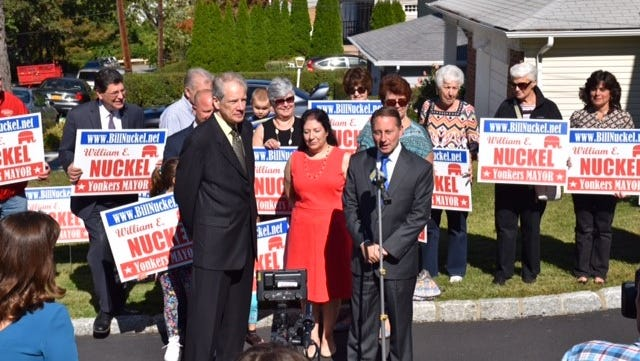 Westchester County Executive Rob Astorino endorsed his fellow Republican Bill Nuckel in the Yonkers mayoral race on Oct. 7, 2015.