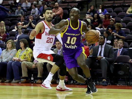 91c79fbde72 Andre Ingram of the South Bay Lakers dribbles during
