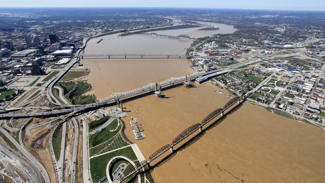 Downtown Louisville.  Louisville skyline.  Ohio River.  Bridges.  Clark Memorial Bridge.  Kennedy Bridge.  Big Four Bridge.  Ohio River Bridges Project Downtown Span.April 4, 2015