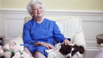 Former First Lady Barbara is shown in a portrait. She died in April at 92.