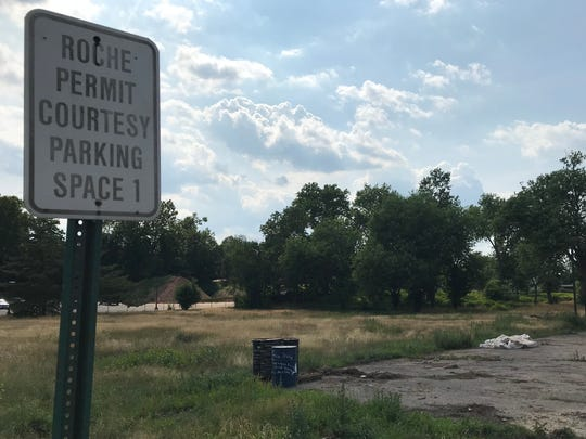 A sign that once reserved parking at 11 Franklin Ave. seen in Belleville on July 13, 2018 at the former location of Roche Diagnostic, which operated in there  from 1975 to 2007.