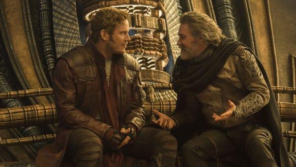 Peter Quill (Chris Pratt) hangs with his dad (Kurt