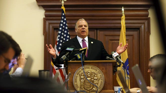 New Jersey Senate President Steve Sweeney tells a gathering at the Statehouse that he will push for a constitutional amendment requiring the state to make quarterly public pension payments despite Gov. Chris Christie's strong opposition.