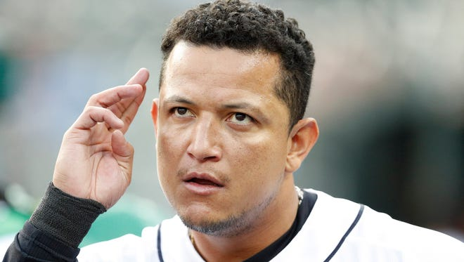 Tigers first baseman Miguel Cabrera (24) wipes his forehead in the dugout before the game against the Chicago White Sox on Friday, Sept. 15, 2017, at Comerica Park.