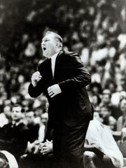 Former TWC and UTEP head coach Don Haskins roars at his team during the 1966 NCAA Basketball Tournament.