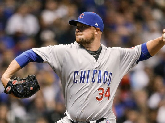 Chicago Cubs' Jon Lester pitches to a Milwaukee Brewers batter during the first inning of a baseball game Thursday, April 5, 2018, in Milwaukee. (AP Photo/Tom Lynn)