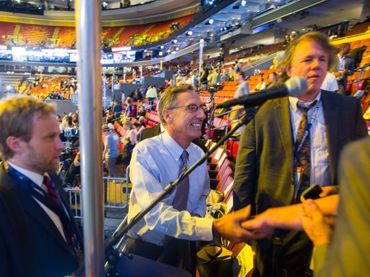 Vermont Gov. Peter Shumlin checks in at the Democratic National Convention in Philadelphia on Tuesday, July 26, 3016.