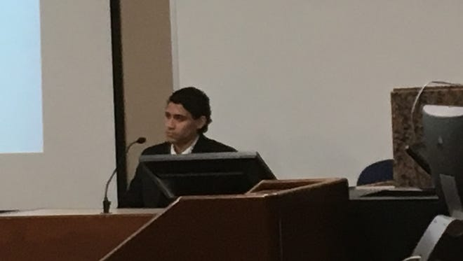 Miguel Bygoytia, who is charged with one count of murder in connection with the 2014 death of Aaron Ochoa, testifies Thursday in the 168th District Court.