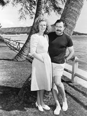 Martha Gellhorn with Ernest Hemingway on Waikiki in