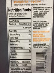The nutrition facts for the new pumpkin spice sweet tea at Publix.