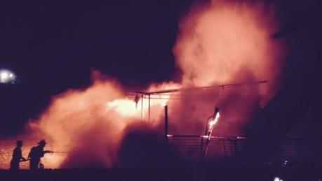 Firefighters battle a blaze at Orienta Beach Club in Mamaroneck