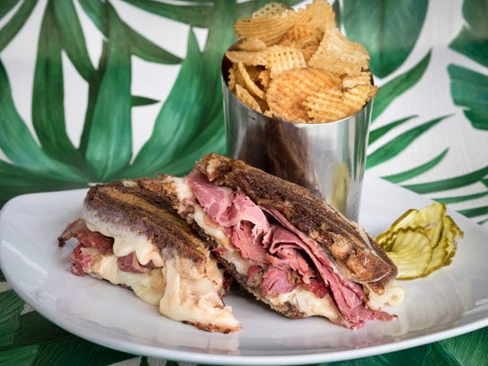 Reuben sandwich with house chips at Meridian Cafe in