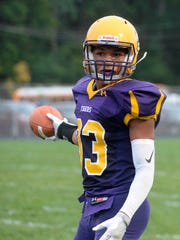 Hagerstown's Jalen Oliver during a football game. Hagerstown defeated Northeastern 28-0 in a football game Friday, Sept. 8, 2017.