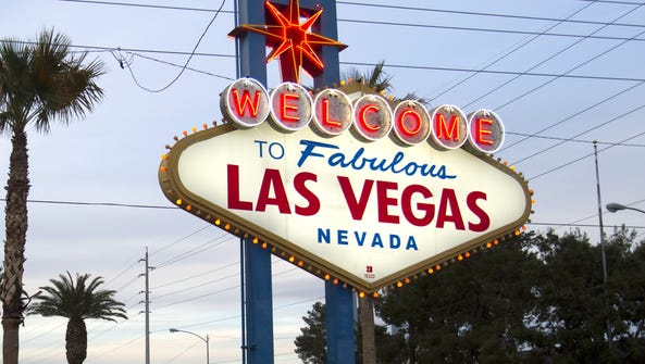 """A view of the """"Welcome to Las Vegas"""" sign in Las Vegas,"""