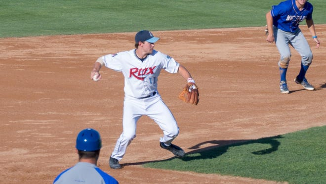 St. Cloud Rox third baseman Cameron Blaquiere (Western Carolina) prepares to throw the ball to first base Saturday at Joe Faber Field. Waterloo defeated St. Cloud 5-2 to snap the Rox's seven-game winning streak.