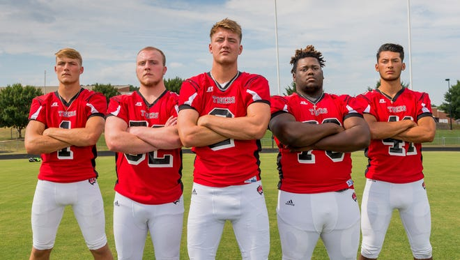 From left, D.J. Willis, Jacob Lloyd, Jake Smith, Josh Ryder and Christian Diaz are part of a key group of veterans leading Blue Ridge into the 2017 season.